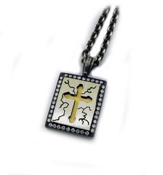 Organic Silver and 18 Karat Yellow Gold Pendant, hanging from an Organic Silver Chain and accented with Diamonds Silver Pendants, Gold Pendant, Dog Tag Necklace, Diamonds, Organic, Chain, Yellow, Jewelry, Jewellery Making