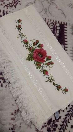 This Pin was discovered by Füs Monogram Cross Stitch, Cross Stitch Rose, Cross Stitch Borders, Modern Cross Stitch Patterns, Cross Stitch Flowers, Cross Stitch Designs, Cross Stitching, Cross Stitch Embroidery, Embroidery Flowers Pattern