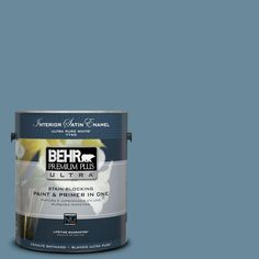 BEHR Premium Plus Ultra 1-gal. #bic-22 Relaxed Blue Satin Enamel Interior Paint