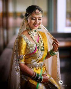 Bridal Sarees South Indian, Indian Bridal Fashion, Indian Bridal Wear, South Indian Bride, Indian Wear, Wedding Saree Blouse Designs, Saree Wedding, Telugu Wedding, Telugu Brides