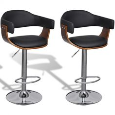 The seat and backrest are ergonomically designed and upholstered in soft, thickly padded artificial leather, which makes the stools highly comfortable. Set of 2 Adjustable Swivel Bar Stool Artificial Leather.