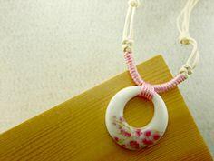 Ceramic pendant necklace jewelry Broken china by dermusensohn2000, $12.00