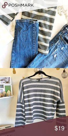 BR grey striped relaxed top Like new condition. Banana Republic thick grey striped relaxed look Top. Canvas style cotton fabric. Very relaxed cool look. Size XS but good for XS/S/M Banana Republic Tops
