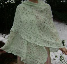 First Snowfall Hand-Knit Shawl By Karen Walker by heirloomlace