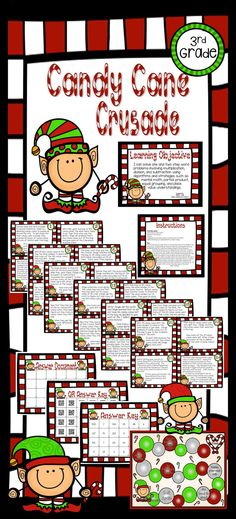 Your students will love reading about Jingle, Cringle, and Jangle and their mission to spread Christmas Cheer. As students make their way through the 24 task cards, they will be prompted to subtract, multiply, and divide. When they come up with the correct answer, they also get to move on the game board in an attempt to collect the most candy canes. (See the preview for a glimpse of this activity and complete details on how the game is played.)