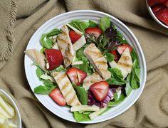 Grilled Chicken strawberry salad fresh + Kosher Food + summer + healthy dinner