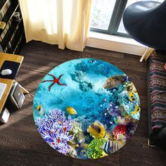 Sea World 76 Non Lip Round Rug Room Mat Photo Carpet Bathroom Office Home Quality Living