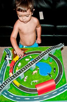 Kid's train table from a LACK. http://www.ikeahackers.net/2012/02/lack-train-table.html