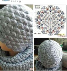Puff Stitch Crochet, Crochet Beret, Crochet Baby Beanie, Crochet Beanie Pattern, Crochet Cap, Crochet Stitches Patterns, Crochet Motif, Crochet Designs, Knitted Hats