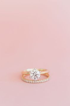 Beautiful gold engagement + wedding ring