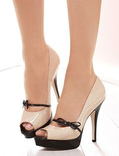 11d3bf75a548 Shoespie Contrast Bowtie Peep-toe Platform Heels - Was And Now - online  shopping with discounted prices