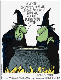 Moderately Confused: A venti eye of newt, arsenic, non-fat, no whip, double shot latte. Halloween Meme, Halloween Cartoons, Holidays Halloween, Spooky Halloween, Halloween Sayings, Happy Halloween Quotes, Halloween Pictures, Halloween Stuff, Wicca