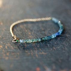 Ocean Sapphire Array Bracelet Gemstone Ombre Blue Teal Green Handmade Jewelry on Etsy, $98.00
