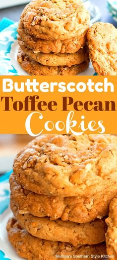Loaded Butterscotch Toffee Pecan Cookies – Desserts World Toffee Cookies, Candy Cookies, Yummy Cookies, Chip Cookies, Yummy Treats, Cookies Soft, Quick Cookies, Gourmet Cookies, Cheesecake Cookies