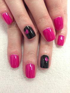 Hearts - black and hot pink nail art.