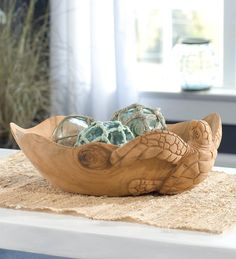 Hand Carved Wood Sea Turtle Bowl
