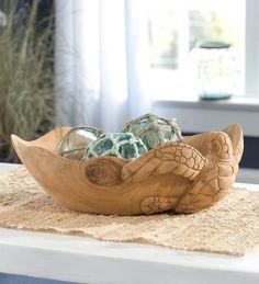 Hand Carved Wood Sea Turtle Bowl