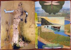 90-page altered book collage about landscapes by Eileen Schramm