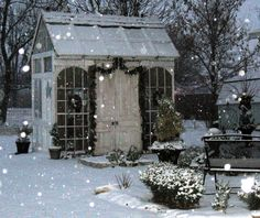 Winter garden shed ~ All The Garden Sheds Of Your Wildest, Quaintest Dreams Outdoor Rooms, Outdoor Gardens, Outdoor Living, Modern Gardens, Small Gardens, Garden Cottage, Home And Garden, Garden Art, Jardin Decor
