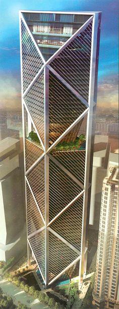 I B TOWER, Kuala Lumpur, Malasya by Foster + Partners Architecture 62 floors, height 298m