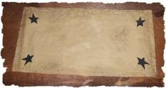 Prim Country Primitive Star Candle Table Mat Runner Rug