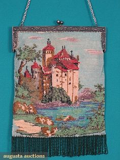 SCENIC MICRO BEADED BAG, c. 1910  White metal frame, front & back identically beaded, Medieval church overlooking lake w/ looped fringe