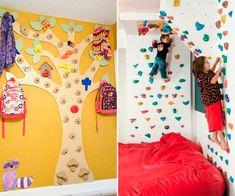 Super ideias para você colocar uma parede de escalada em quartos infantis, com certeza as crianças vão adorar e se divertir muito!