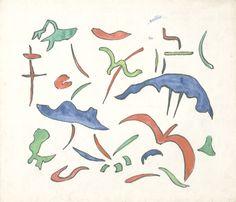 E. Besozzi pitt. s.d. (1960) Forme pennarello e tempera su carta cm. 22x23,6 arc. 659r