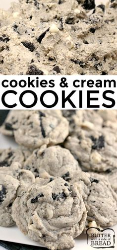 Cookies & Cream Cookies are made with Oreo pudding, white chocolate chips and chunks of Oreo cookies. This delicious cookie recipe yields perfectly soft and chewy cookies every time! Cookies oreo COOKIES AND CREAM COOKIES Oreo Pudding Cookies, Oreo Cookie Recipes, Delicious Cookie Recipes, Yummy Cookies, Baking Cookies, Cookies With Oreos, Dessert Recipes, Oreo Cookie Butter, Cheesecake Cookies