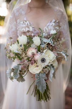 Bride in Hayley Paige gown with blush bouquet Wedding Flower Packages, Wedding Reception Flowers, Winter Wedding Flowers, Flower Bouquet Wedding, Blush Bouquet, Wedding Ideas, Bridal Bouquets, Dusky Pink Weddings, Gray Weddings