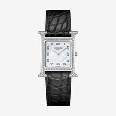 Hermès Black Heure H Diamond, Stainless Steel & Alligator Strap Watch Hermes Apple Watch, Hermes Watch, Unusual Watches, Sport Watches, Trendy Watches, Ladies Watches, Beautiful Watches, Beautiful Ladies, Luxury Watches