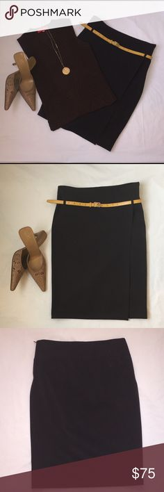 Le Group Basic Pencil Skirt This Italian skirt in a deep brown color is understated and sexy. Size IT40/US4. Faux wrap style with a hidden side zip closure. Can be worn with or without a skinny belt. Wear it with a sweater and the AVC mules (for sale separately) as shown here. Belt not included. Composition: 63% polyester  32% viscose  5% elastane Le Group Skirts Pencil