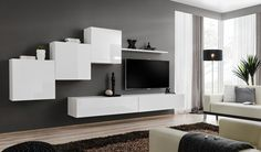 JUSTyou Swotch X wall unit white graphite - Living Room Wall Units, Living Room Modern, Home And Living, Living Room Designs, Living Room Furniture, Living Room Decor, Entertainment Wall Units, Living Room Entertainment Center, Bathroom Wall Cabinets
