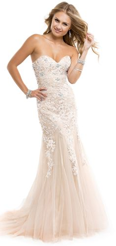 White ivory prom dress with sweetheart neckline and lace bodice by Flirt