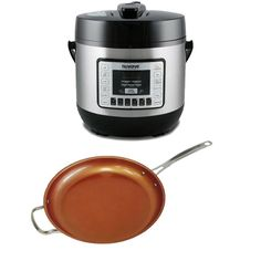 NuWave Electric Pressure Cooker As Seen On TV with 12-inch Ceramic Fry Pan (Black, Stainless steel Bronze)