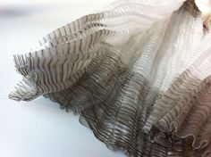 """X-Ray Fabric© Pleat by London-based English textile designer Rita Parniczky who writes """"...the most sculptural construction of the X-Ray Fabric series with pleats upon pleats forming the artwork. It contains many 10,000 metres of yarn and involves the most time-consuming process."""" via the designer's site"""