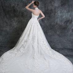 時尚抹胸大拖尾婚紗2014秋冬季新款韓版式修身顯瘦蕾絲婚紗長拖尾