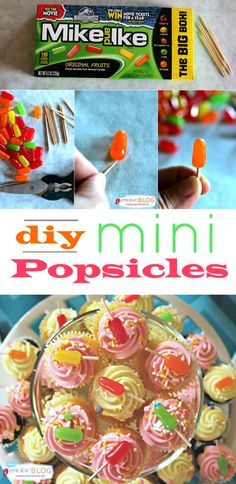 How to make Mini Party Popsicles Cupcake Toppers Cupcake Wars, Cupcake Toppers, Cupcakes, Baking Birthday Parties, Popsicle Party, Mike And Ike, Wie Macht Man, Party Food And Drinks, Mini Foods