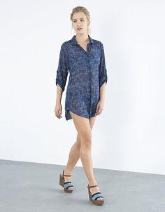 Vestido camisero efecto denim   SHOP ONLINE BLANCO.COM