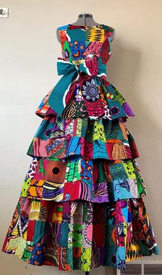 african print dresses Bodacious Lush and Full African Wax Print Tiered Dress Genuine Latest African Fashion Dresses, African Dresses For Women, African Print Dresses, African Print Fashion, African Attire, African Wear, Fashion Prints, Ankara Fashion, African Style