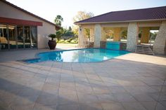 large paved area around pool