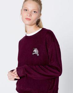 Pull&Bear - mujer - ropa - sudaderas - sudadera parche unicornio - granate - 09590329-I2016