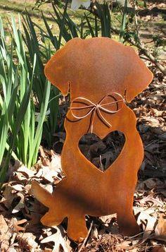 Golden Retriever Dog Metal Garden Stake - Yard Garden Art - Pet Memorial