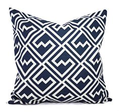 Navy Blue Pillow Covers! This listing is for a set of two navy and white decorative throw pillow covers in a geometric print. These couch