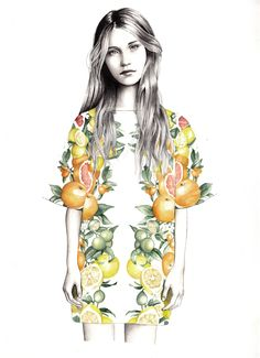 Fashion illustration wearing a fruity Stella McCartney outfit #illustrations #fashionillustration
