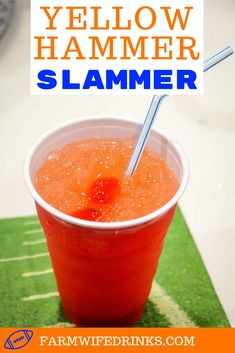 Yellow Hammer Slammer drink is strong cocktail perfect for tailgate parties and can be made by the pitcher or one at a time by stirring together vodka, rum, amaretto, pineapple juice, and OJ. Alcoholic Drinks With Pineapple Juice, Strong Alcoholic Drinks, Strong Cocktails, Vodka Mixed Drinks, Alcoholic Punch Recipes, Rum Cocktail Recipes, Fruity Drinks, Drinks Alcohol Recipes, Yummy Drinks