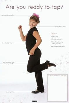 Are You Ready for Class Poster-Tap: Provide parents and students with a visual description of proper dance attire required for each class. Available in ballet, jazz, and tap formats and sold separately, each poster features a write-in area for teachers to specify particular dress code requirements, including shoe style, leotard color, etc. The Are You Ready for Class posters are perfect for displaying in dressing rooms, waiting areas, or on classroom doors. http://creativedanceteaching.com