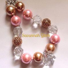 Diamond bubblegum necklace. Gold and pink chuncky neckalce. Baptism, wedding, birthday. on Etsy, $20.00