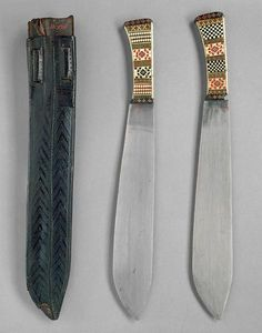 D198 Two hunting knives and a sheath owned by Rudolf von Wartensee, circa 1350.