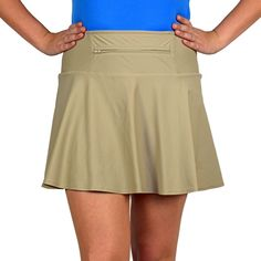 """SwingStyle RayOfLightChannel your favorite Force-sensitive heroine by pairing this beige medium-weight skirt with the RayOfLight Costume. The neutral color will pair great with lots of other running costumes and shirts too! Our famous SparkleTech running skirt has built-in, same-color, anti-ride undershorts with a double-layered crotch gusset and three huge pockets. Stow your gels, keys, ID, and more in two 5x5"""" compartments or stash your music player in the 12"""" zippered waistband pocket."""
